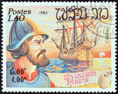"""LAOS - CIRCA 1983: A stamp printed in Laos from the """"Explorers and their Ships """" issue shows Pedro Alvares Cabral and El Ray, circa 1983. — Stock Photo"""