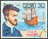"LAOS - CIRCA 1983: A stamp printed in Laos from the ""Explorers and their Ships "" issue shows Jacques Cartier and Grande Hermine, circa 1983. — Stockfoto"