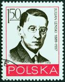 "POLAND - CIRCA 1978: A stamp printed in Poland from the ""Leaders of Polish Workers' Movement "" issue shows Julian Lenski, circa 1978. — Foto de Stock"
