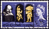 """UNITED KINGDOM - CIRCA 1964: A stamp printed in United Kingdom from the """"Shakespeare Festival """" issue shows Puck and Bottom (A Midsummer Night's Dream), circa 1964. — Stock Photo"""