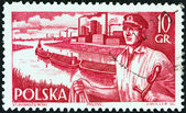 """POLAND - CIRCA 1956: A stamp printed in Poland from the """"Merchant Navy"""" issue shows sailor and barges, circa 1956. — Stock Photo"""