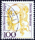 "GERMANY - CIRCA 1986: A stamp printed in Germany from the ""Famous German Women"" issue shows mother of King Friedrich I of Prussia Luise Henriette of Orange, circa 1986. — Stock Photo"