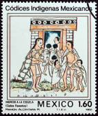 "MEXICO - CIRCA 1982: A stamp printed in Mexico from the ""Native Mexican Codices - Florentine Codex "" issue shows Admission to School, circa 1982. — Stock Photo"