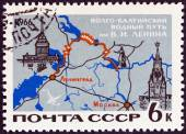 "USSR - CIRCA 1966: A stamp printed in USSR from the ""Soviet Transport "" issue shows Map of Lenin Volga-Baltic canal system, circa 1966. — Stock Photo"