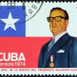 CUBA - CIRCA 1974: A stamp printed in Cuba issued for the 1st anniversary of the death of president Allende of Chile shows Salvador Allende, circa 1974. — Stock Photo #54335411