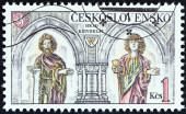 "CZECHOSLOVAKIA - CIRCA 1982: A stamp printed in Czechoslovakia from the ""Castles "" issue shows interior and sculptures at Krivoklat Castle, circa 1982. — Stock Photo"