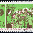 "VIETNAM - CIRCA 1979: A stamp printed in Vietnam from the ""35th anniversary of Vietnam People's Army "" issue shows people greeting soldiers, circa 1979. — Stock Photo #55397861"