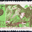 "VIETNAM - CIRCA 1979: A stamp printed in Vietnam from the ""35th anniversary of Vietnam People's Army "" issue shows battle scene, circa 1979. — Stock Photo #55397973"