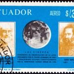 "ECUADOR - CIRCA 1966: A stamp printed in Ecuador from the ""Italian Achievements in Space Exploration "" issue shows Leonardo Da Vinci, Johannes Kepler and Moon, circa 1966. — Stock Photo #55398315"