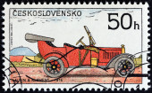 "CZECHOSLOVAKIA - CIRCA 1988: A stamp printed in Czechoslovakia from the ""Historic Motor Cars "" issue shows Laurin and Klement Car, 1914, circa 1988. — Stock Photo"