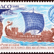 Постер, плакат: MONACO CIRCA 1982: A stamp printed in Monaco issued for the 2000th anniversary of the death of Virgil shows Julius Caesar in the Port of Monaco circa 1982
