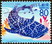 "JAPAN - CIRCA 2007: A stamp printed in Japan from the ""Prefectural Stamps - Okinawa - Sea of Okinawa "" issue shows Whale shark (Rhincodon typus), circa 2007. — Stock Photo"