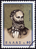"""GREECE - CIRCA 1966: A stamp printed in Greece from the """"Modern Greek Painters"""" issue shows Theodoros Vryzakis, circa 1966. — Stock Photo"""