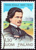 FINLAND - CIRCA 1983: A stamp printed in Finland issued for the birth centenary of Toivo Kuula shows composer Toivo Kuula and Ostrobothnia, circa 1983. — Stock Photo