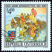 AUSTRIA - CIRCA 1985: A stamp printed in Austria issued for the 1000th anniversary of Konigstetten shows legendary founding of Koningsstetten by Charlemagne, circa 1985. — Stock Photo