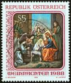 "AUSTRIA - CIRCA 1988: A stamp printed in Austria from the ""Christmas "" issue shows Nativity (St. Barbara's Church, Vienna), circa 1988. — Stockfoto"