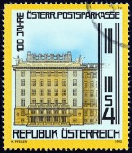AUSTRIA - CIRCA 1983: A stamp printed in Austria issued for the centenary of Postal Savings Bank shows Bank, Vienna, circa 1983. — Stock Photo