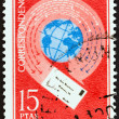 "SPAIN - CIRCA 1971: A stamp printed in Spain from the ""Express Stamps "" issue shows Letter encircling globe, circa 1971. — Stock Photo #58035687"