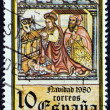 """SPAIN - CIRCA 1980: A stamp printed in Spain from the """"Christmas """" issue shows Nativity (mural from Church of Santa Maria de Cuina, Oza de los Rios), circa 1980. — Stock Photo #58035711"""
