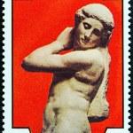 """MALDIVES - CIRCA 1975: A stamp printed in Maldives from the """"500th birth anniversary of Michelangelo """" issue shows Apollo, circa 1975. — Stock Photo #58513189"""