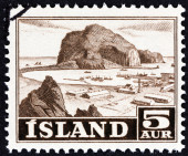 ICELAND - CIRCA 1954: A stamp printed in Iceland shows Vestmannaeyjar harbour, circa 1954. — Stock Photo