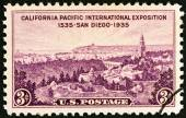 USA - CIRCA 1935: A stamp printed in USA issued for the California Pacific International Exposition, San Diego shows Exhibition Grounds, Point Loma and San Diego Bay, circa 1935. — Stock Photo