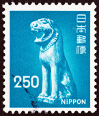 JAPAN - CIRCA 1976: A stamp printed in Japan shows Komainu (guardian dog), Katori Shrine, circa 1976. — Stock Photo