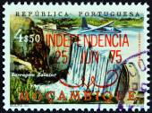 "MOZAMBIQUE - CIRCA 1975: A stamp printed in Mozambique from the ""Independence "" issue shows Salazar Barrage, circa 1975. — Stock Photo"
