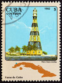 """CUBA - CIRCA 1982: A stamp printed in Cuba from the """"Lighthouses """" 3rd issue shows Cayo Jutias, circa 1982. — Stock Photo"""