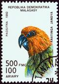 "MADAGASCAR - CIRCA 1992: A stamp printed in Madagascar from the ""Birds"" issue shows a Jandaya parakeet (Aratinga jandaya), circa 1992. — Stock Photo"