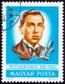 HUNGARY - CIRCA 1973: A stamp printed in Hungary issued for the 30th death anniversary of Barnabas Pesti shows Barnabas Pesti (patriot), circa 1973. — Stock Photo