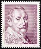 ESTONIA - CIRCA 1994: A stamp printed in Estonia issued for the 400th birth anniversary of King Gustav II Adolf of Sweden shows Gustav II Adolf, circa 1994. — Stock Photo