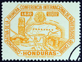 "HONDURAS - CIRCA 1947: A stamp printed in Honduras from the ""1st International Conference of Caribbean Archaeologists "" issue shows map of Honduras and Copan antiquities, circa 1947. — Stock Photo"