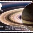 "UNITED KINGDOM - CIRCA 2012: A stamp printed in United Kingdom from the ""Space Science - The 50th Anniversary of the First British Satellite: Ariel 1 "" issue shows Saturn, circa 2012. — Stock Photo #60242013"