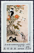 "NORTH KOREA - CIRCA 1978: A stamp printed in North Korea from the ""Korean Animal Paintings "" issue shows Cat up a tree (Li Am), circa 1978. — Stok fotoğraf"
