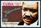 CUBA - CIRCA 1986: A stamp printed in Cuba issued for the 18th death anniversary of Martin Luther King shows human rights campaigner Martin Luther King, circa 1986. — Stock Photo