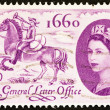 UNITED KINGDOM - CIRCA 1960: A stamp printed in United Kingdom issued for the 300th anniversary of establishment of General Letter Office shows postboy of 1660 and Queen Elizabeth II, circa 1960. — Stock Photo #60635801