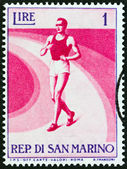 "SAN MARINO - CIRCA 1954: A stamp printed in Italy from the ""Sports "" issue shows race walking, circa 1954. — Foto Stock"