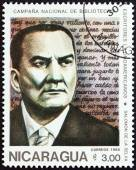 "NICARAGUA - CIRCA 1986: A stamp printed in Nicaragua from the ""National Libraries. Latin American Writers "" issue shows Salomon de la Selva (1893-1959), circa 1986. — Stock Photo"