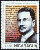 "NICARAGUA - CIRCA 1986: A stamp printed in Nicaragua from the ""National Libraries. Latin American Writers "" issue shows Ruben Dario (1867-1916), circa 1986. — Stock Photo"