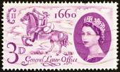 UNITED KINGDOM - CIRCA 1960: A stamp printed in United Kingdom issued for the 300th anniversary of establishment of General Letter Office shows postboy of 1660 and Queen Elizabeth II, circa 1960. — Stock Photo