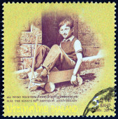 "THAILAND - CIRCA 2007: A stamp printed in Thailand from the ""80th anniversary of the Birth of H.M. The King "" issue shows Thai King Bhumibol Adulyadej photograph in child age playing, circa 2007. — Stock fotografie"