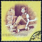 "THAILAND - CIRCA 2007: A stamp printed in Thailand from the ""80th anniversary of the Birth of H.M. The King "" issue shows Thai King Bhumibol Adulyadej photograph in child age playing, circa 2007. — Foto Stock"