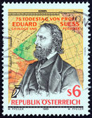 AUSTRIA - CIRCA 1989: A stamp printed in Austria issued for the 75th death anniversary of Eduard Suess geologist and politician shows Suess after Josef Kriehuber and Map, circa 1989. — Stock Photo