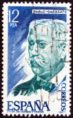 """SPAIN - CIRCA 1977: A stamp printed in Spain from the """"Personalities """" issue shows Pablo Sarasate (violinist), circa 1977. — Stock Photo"""