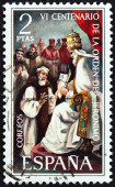 SPAIN - CIRCA 1973: A stamp printed in Spain issued for the 600th anniversary of the founding of the order of St. Jerome shows Pope Gregory XI receiving St. Jerome's petition, circa 1973. — Stock Photo