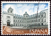 "SPAIN - CIRCA 1979: A stamp printed in Spain from the ""Latin-American Architecture "" issue shows St. Bartholomew's College, Bogota, circa 1979. — Stock Photo"