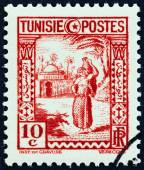TUNISIA - CIRCA 1931: A stamp printed in Tunisia shows woman carrying water, circa 1931. — Stockfoto
