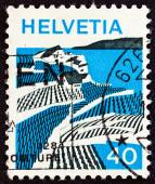 """SWITZERLAND - CIRCA 1973: A stamp printed in Switzerland from the """"Landscapes """" issue shows Riex (Waadt), circa 1973. — Stock Photo"""
