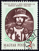 "HUNGARY - CIRCA 1988: A stamp printed in Hungary from the ""Hungarian Kings "" 2nd issue shows Karoly I (Charles Robert), detail of decorated initial from Illuminated Chronicle, 1358, circa 1988. — Stock Photo"